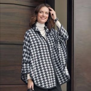 Pendleton Black White Houndstooth Wool Cape XS/S